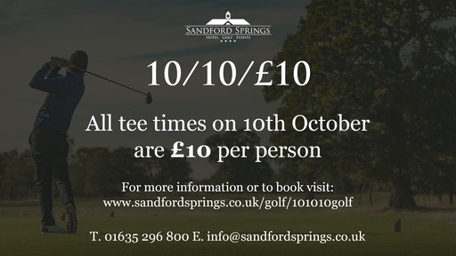 All tee times on 10 October are £10 per person